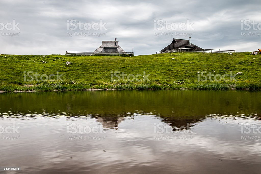 Mountain huts stock photo