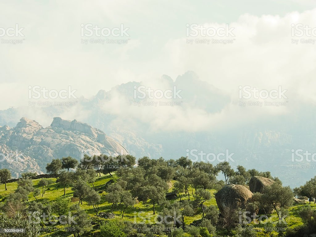 Mountain In Fog royalty-free stock photo