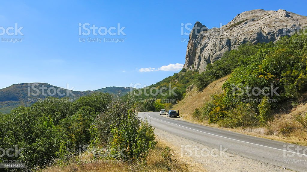Mountain in forest stock photo
