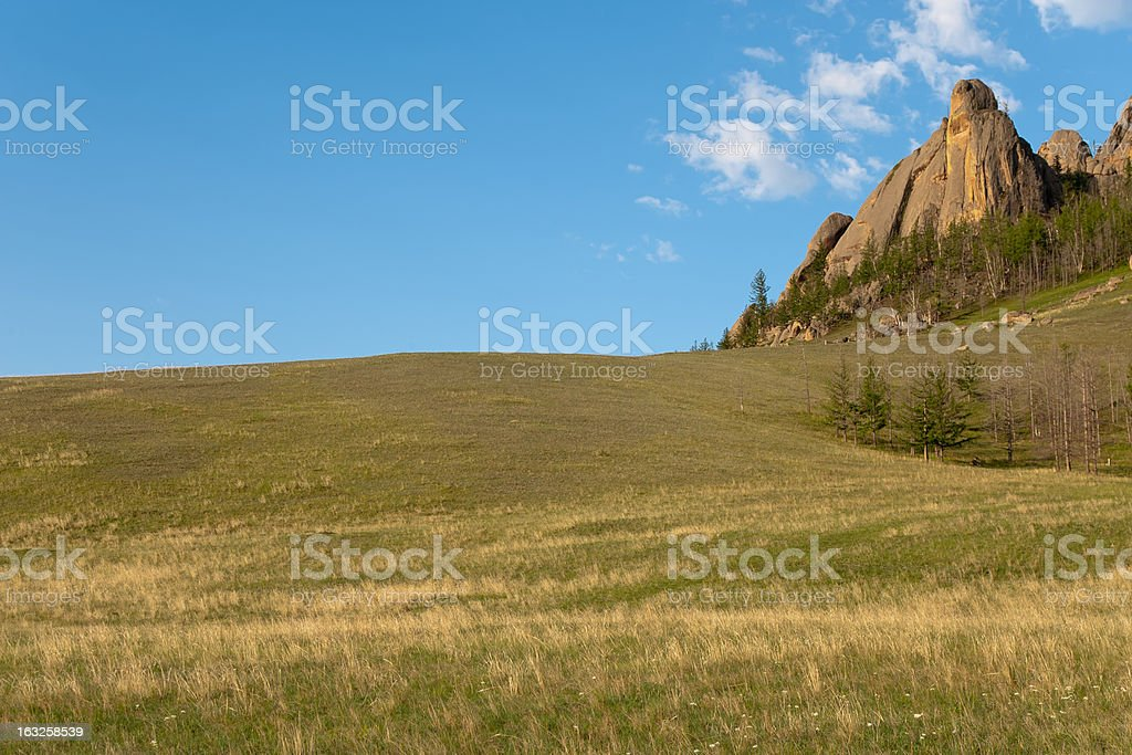 Mountain in the Mongolian Steppes royalty-free stock photo