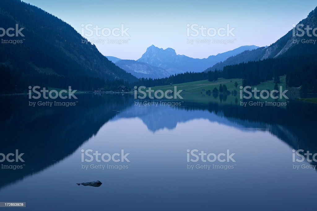 Mountain Lake after Sunset royalty-free stock photo