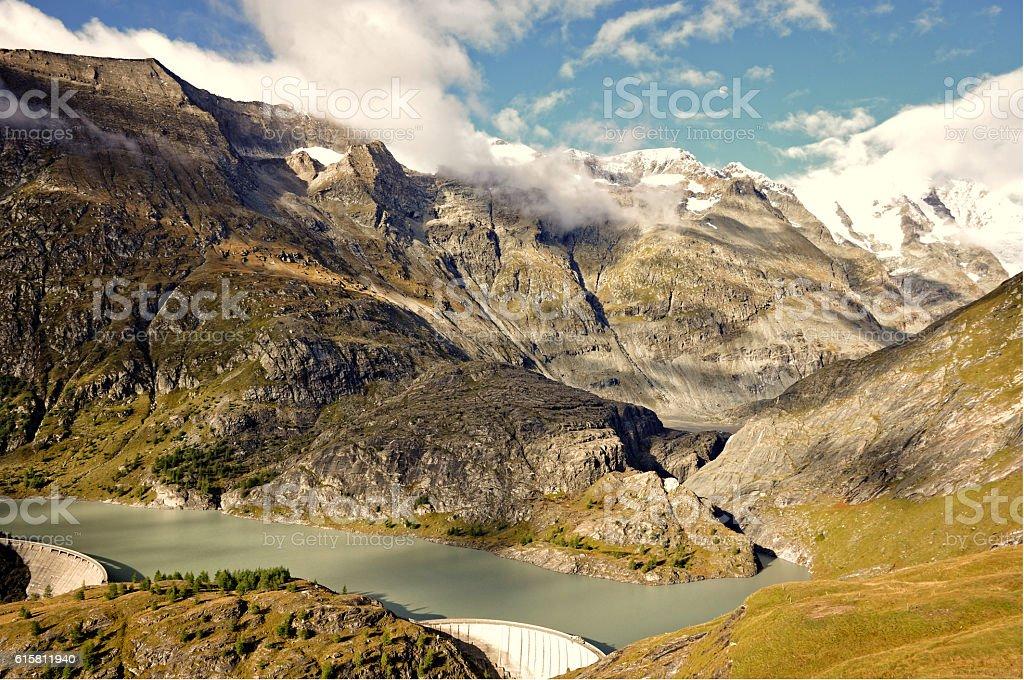 Mountain Lake and Dam. stock photo