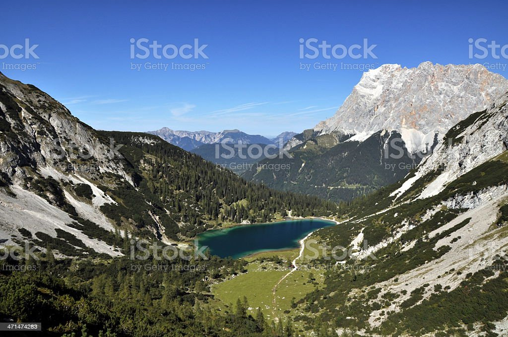Mountain Lake and Zugspitze in the European Alps royalty-free stock photo