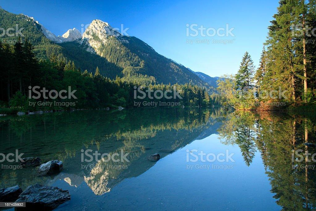 Mountain Lake at Dawn stock photo