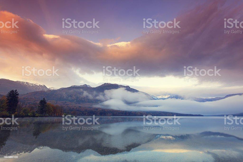 mountain lake at dawn royalty-free stock photo