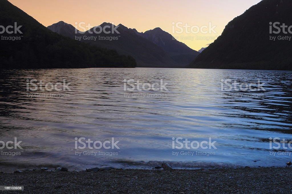 Mountain lake at dusk royalty-free stock photo