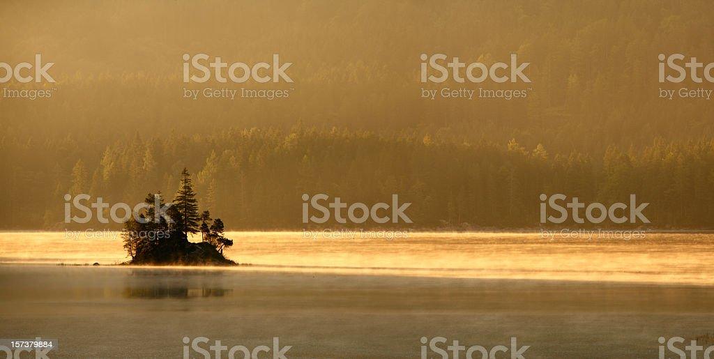 Mountain Lake at Sunrise stock photo