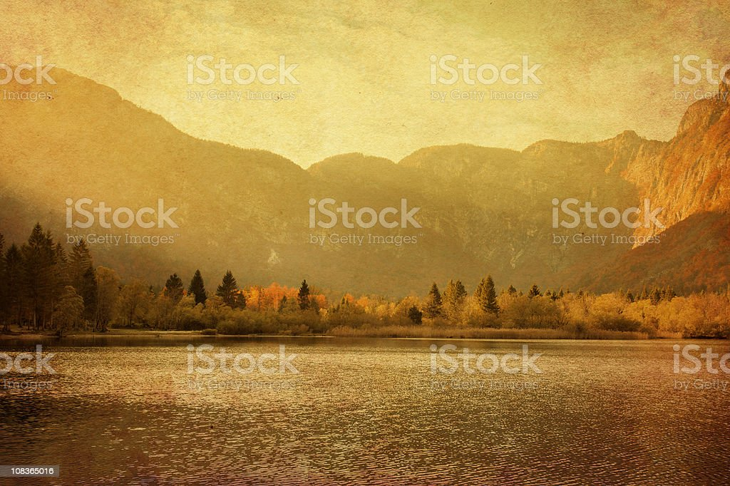 mountain lake at sunset royalty-free stock photo