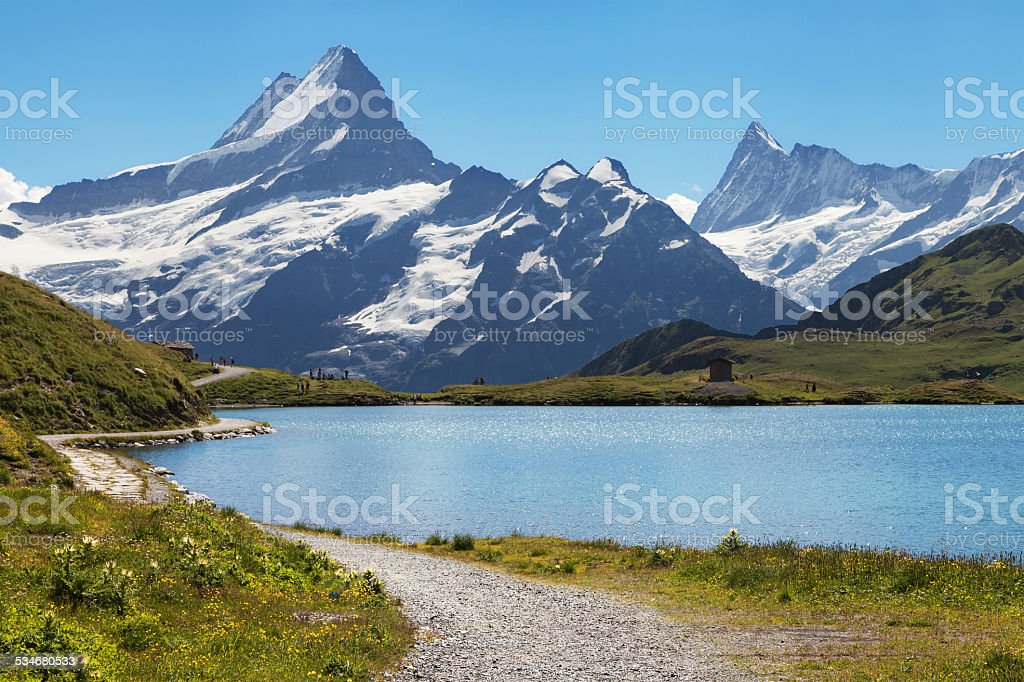 Mountain lake Bachalpsee stock photo