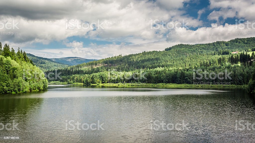 Mountain lake between forests stock photo