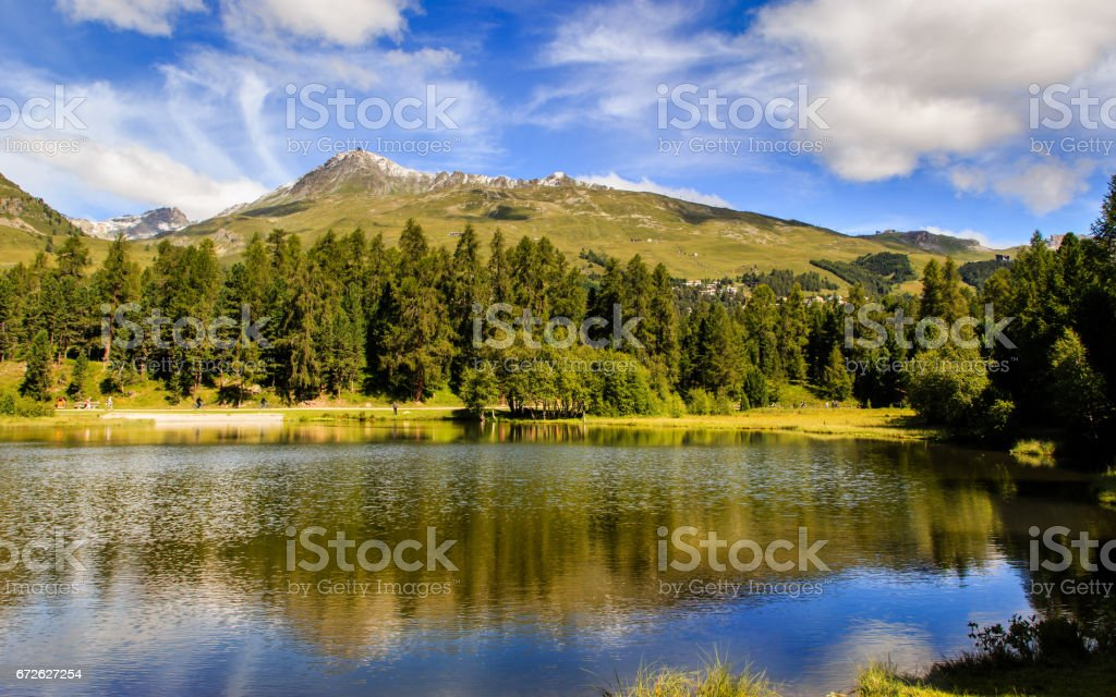 Mountain lake Champferer See near St. Moritz (Switzerland) stock photo