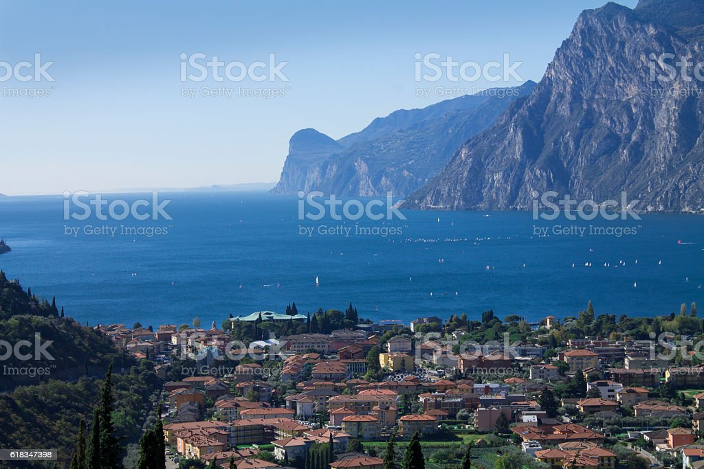 mountain lake Garda, a Aerial View stock photo