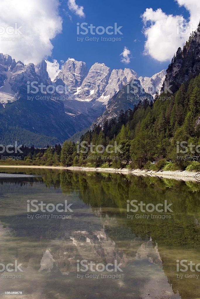 Mountain lake in Dolomites Alps royalty-free stock photo