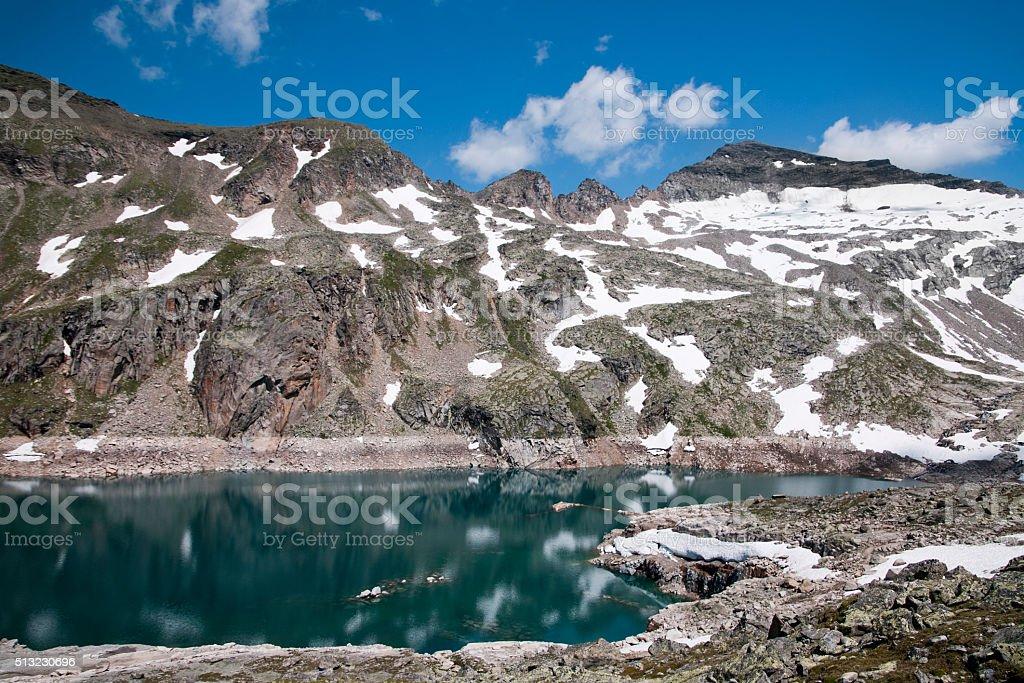 Mountain lake in Europe stock photo