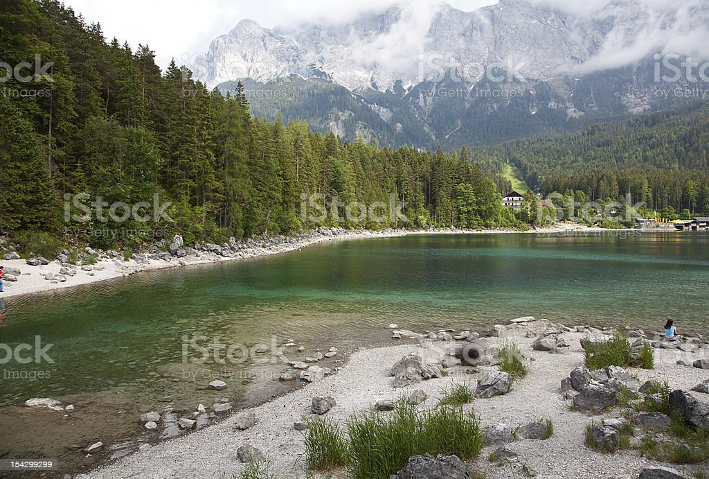 Mountain lake in front of Zugspitze royalty-free stock photo