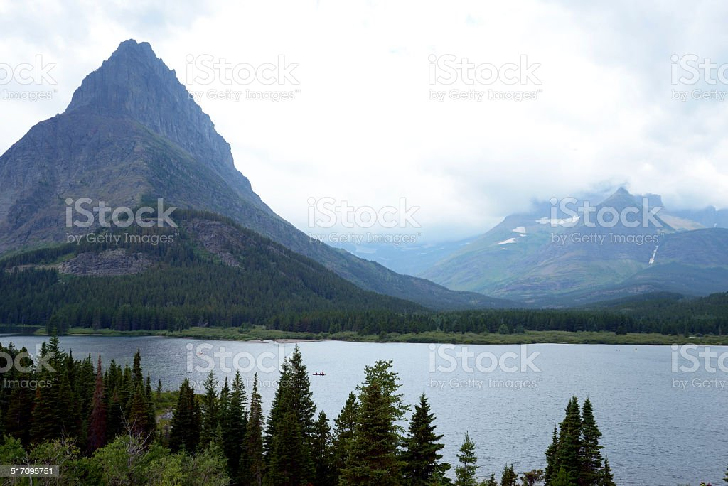 Mountain lake in Glacier National Park. stock photo