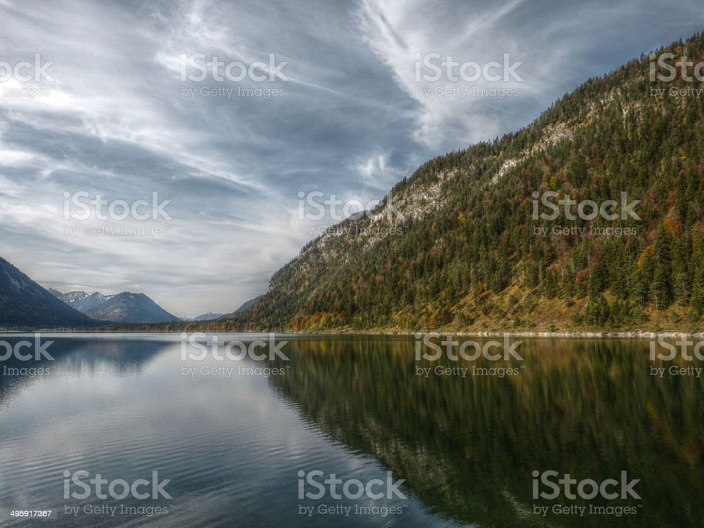 mountain lake in HDR royalty-free stock photo