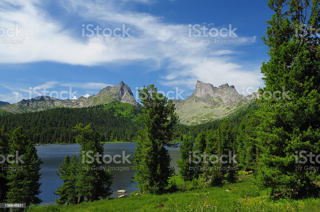 Mountain lake in national park Ergaki, Russia stock photo