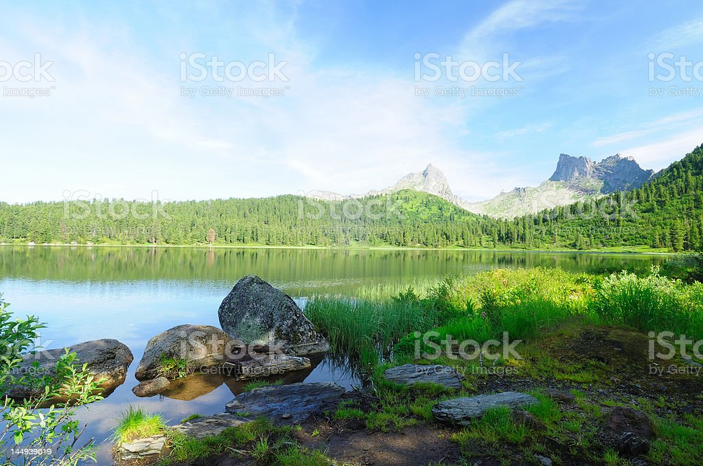 Mountain lake in national park Ergaki, Russia royalty-free stock photo