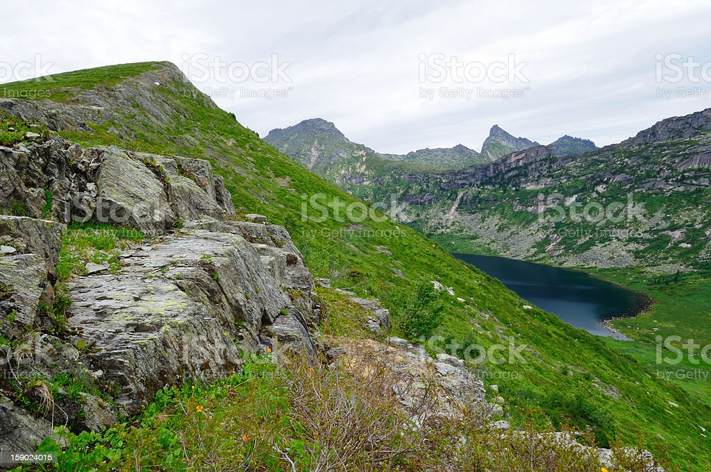 Mountain lake in Siberia. stock photo