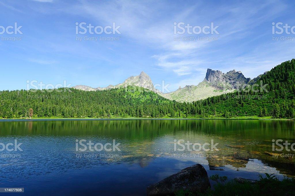 Mountain lake in Siberia. royalty-free stock photo