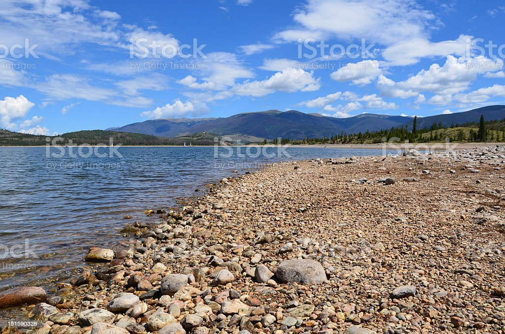 Mountain lake in summer stock photo