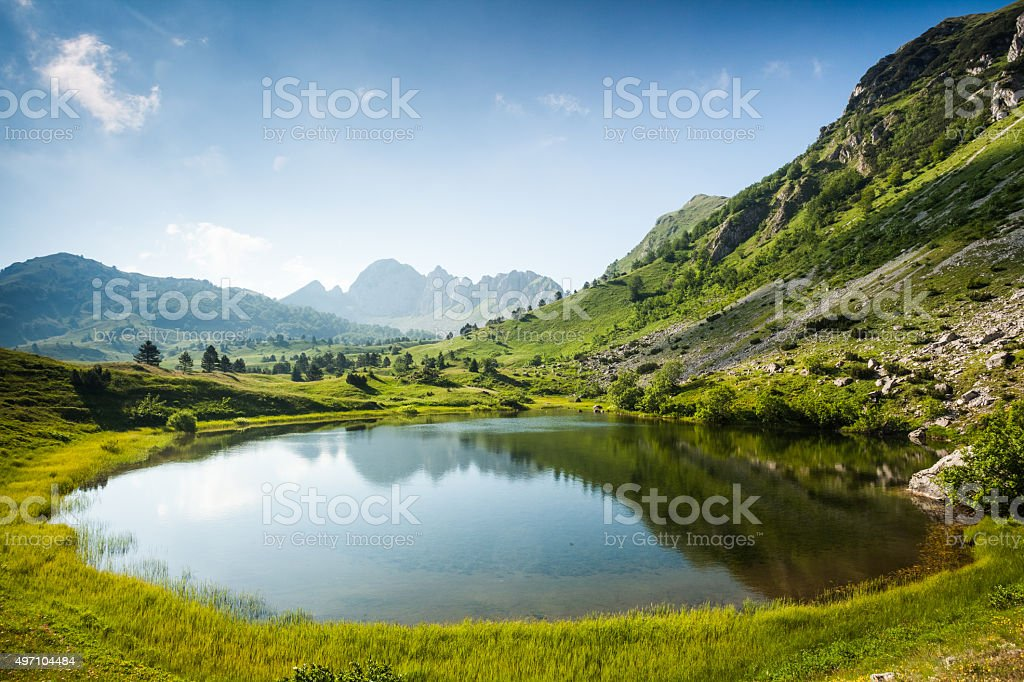 Mountain lake in summertime stock photo