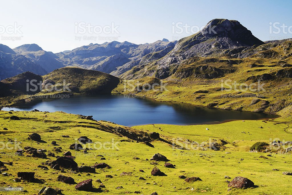 Mountain Lake in the French Pyrenees stock photo