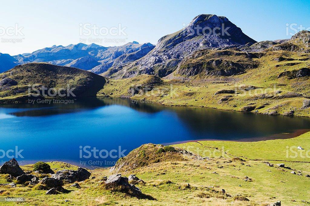 Mountain Lake in the Pyrenees stock photo