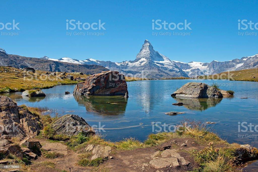 mountain lake in the Swiss Alps stock photo