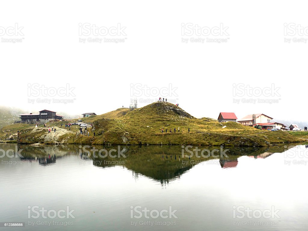 Mountain lake in winter stock photo