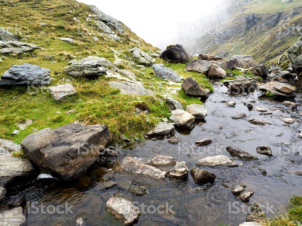 Mountain lake in winter stock photo