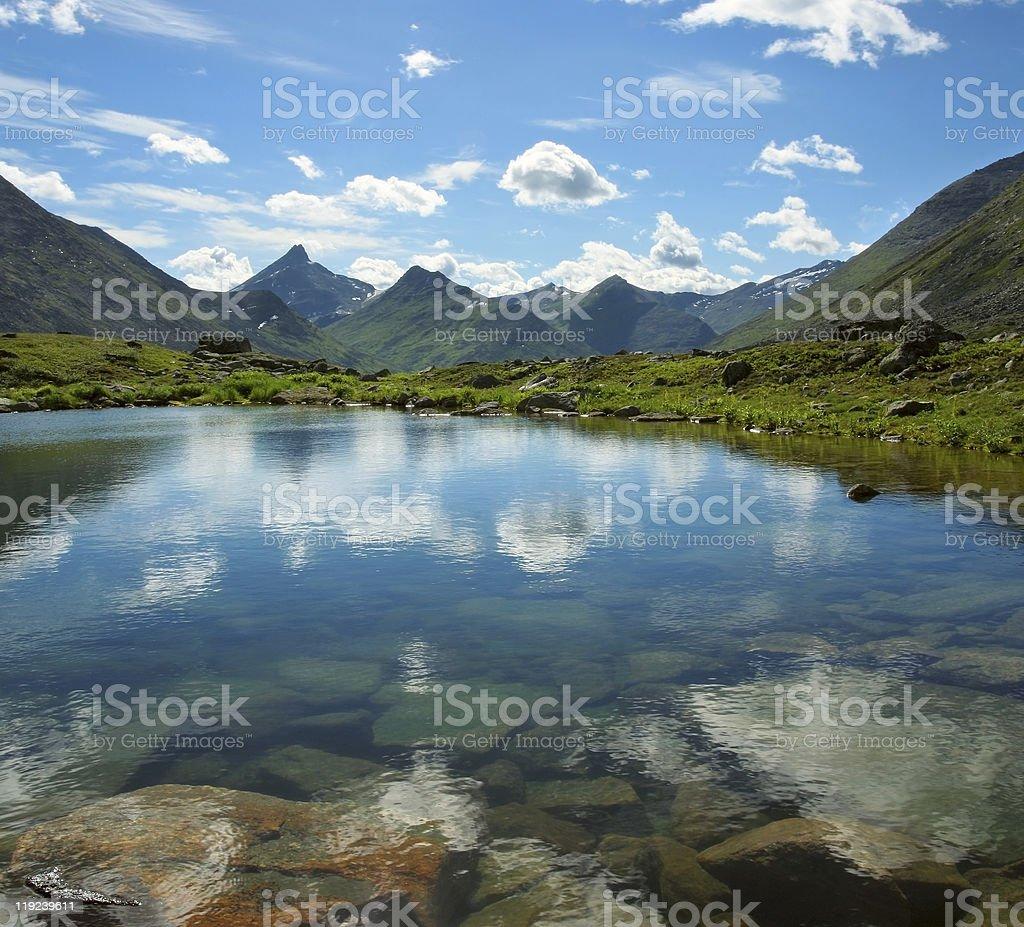 Mountain lake landscape on sunny day royalty-free stock photo