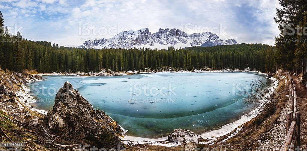 Mountain Lake of Carezza in the Dolomites, Italy royalty-free stock photo