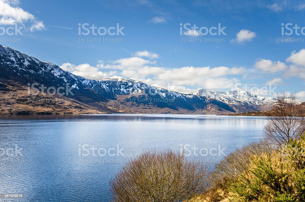 Mountain Lake on a Clear Winter Day stock photo