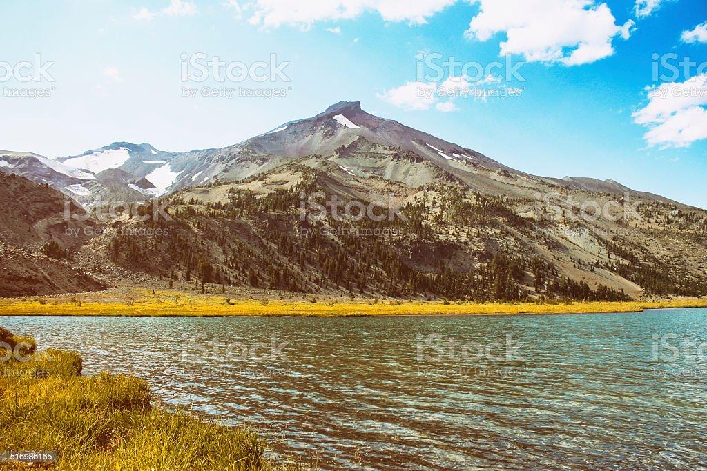 Mountain lake on summer day stock photo