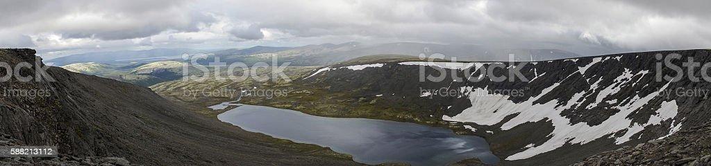 Mountain lake panorama in valley stock photo
