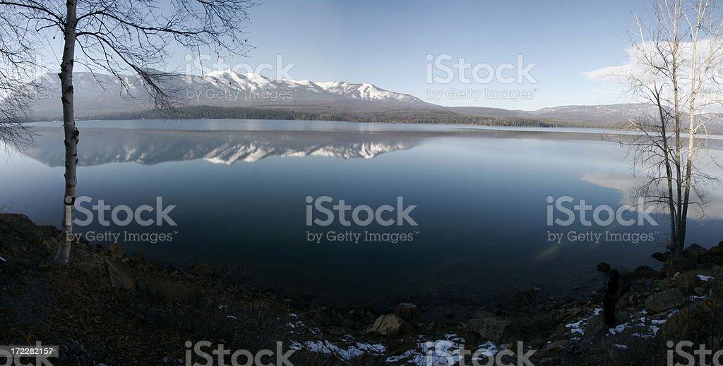 Mountain Lake Panorama royalty-free stock photo