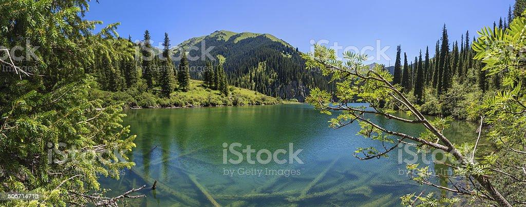 mountain lake panorama stock photo
