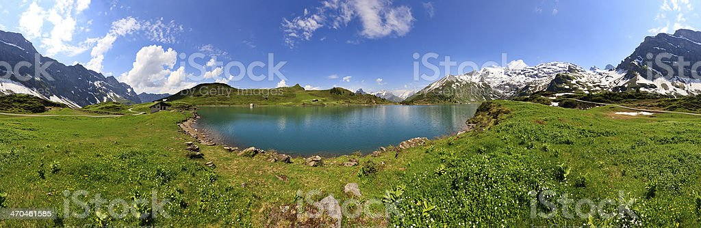 Mountain lake panorama, Switzerland stock photo