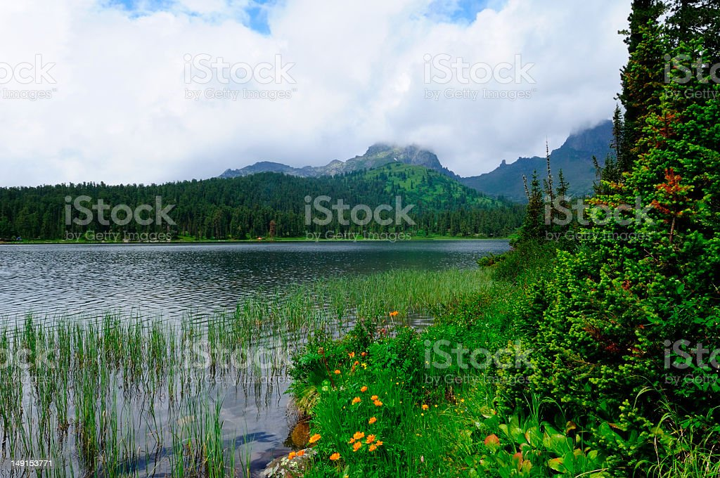 Mountain lake (Siberia, Ergaki). stock photo
