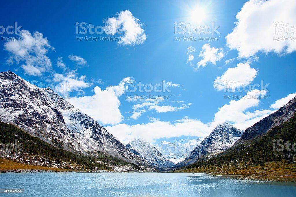 mountain lake stock photo