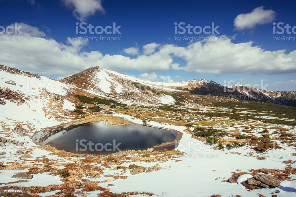 Mountain Lake. Reflection of sky in water. Spring landscape. stock photo