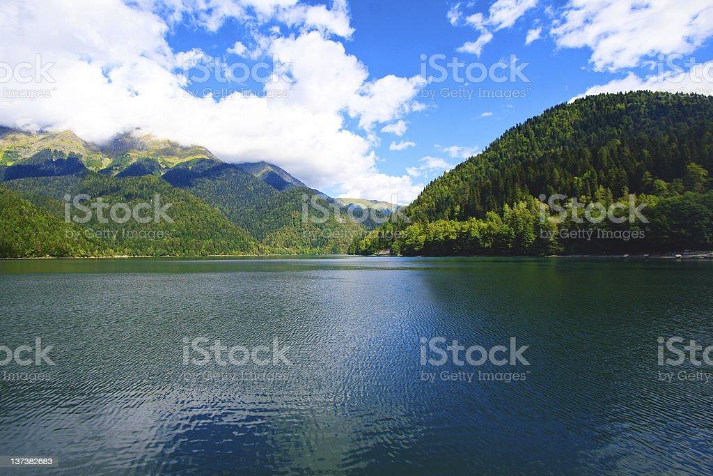 Mountain lake Ritsa stock photo