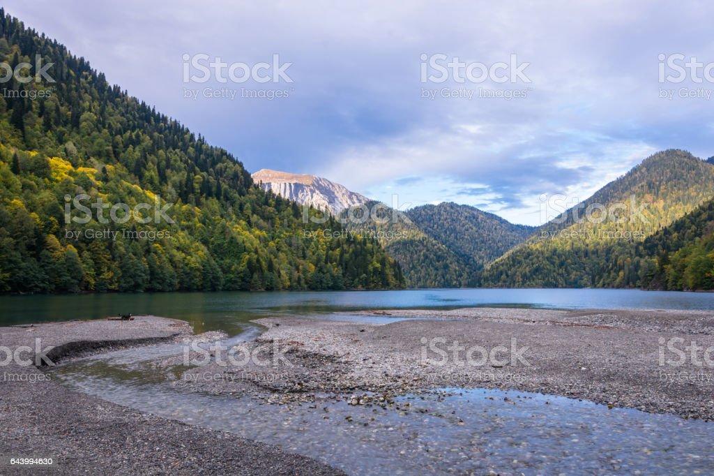 Mountain lake Ritsa. stock photo