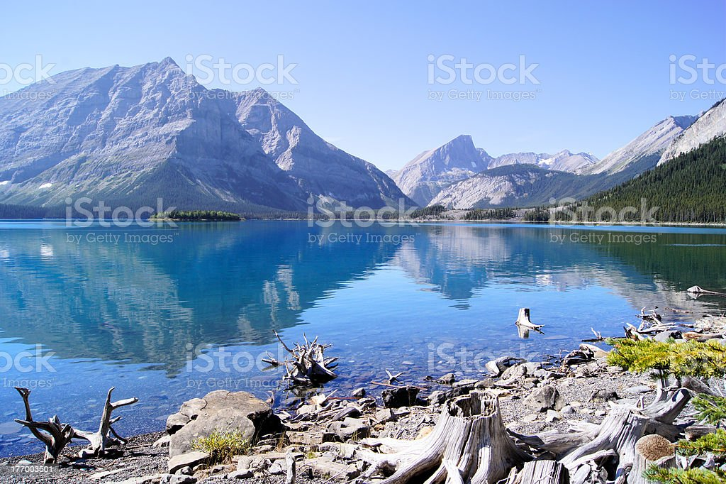 Mountain lake scene with reflections royalty-free stock photo