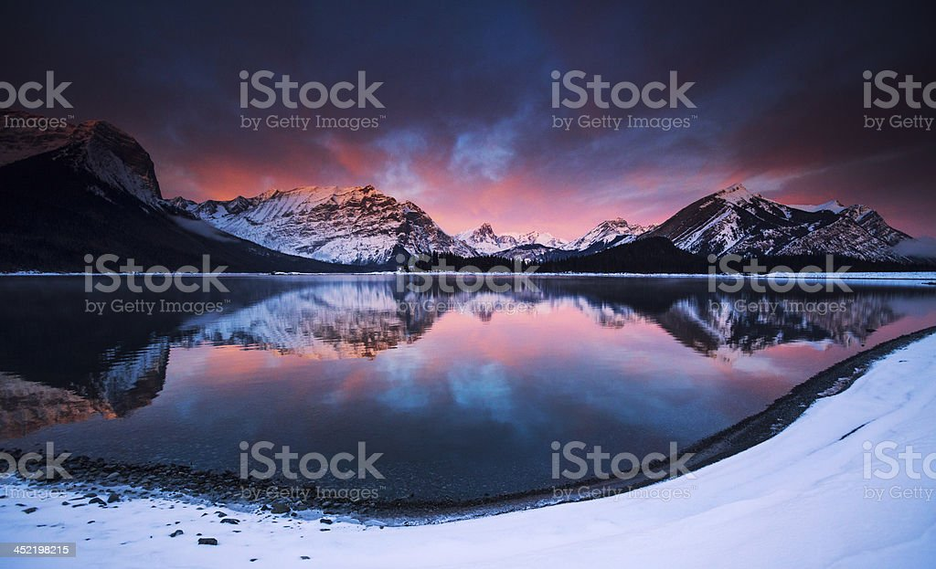 Mountain Lake Sunrise stock photo