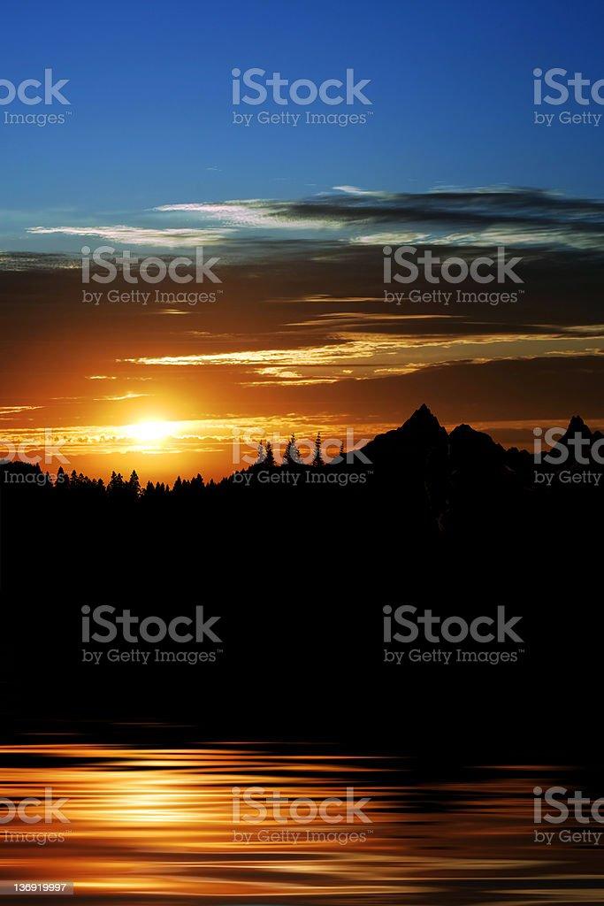 XXL mountain lake sunset royalty-free stock photo
