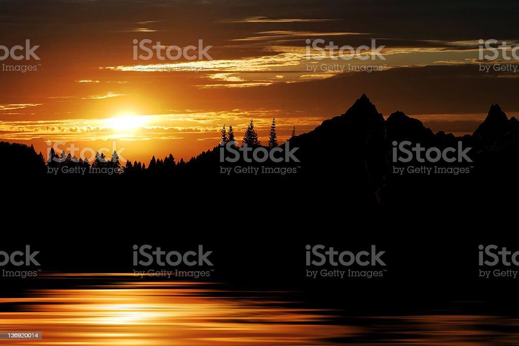 XL mountain lake sunset stock photo