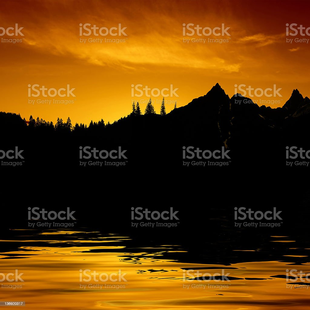 XXXL mountain lake sunset royalty-free stock photo